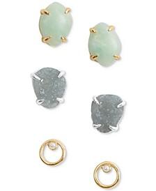 Two-Tone 3-Pc. Set Stone & Imitation Pearl Stud Earrings
