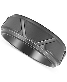 Men's Geometric Band in Black Ion-Plated Tantalum