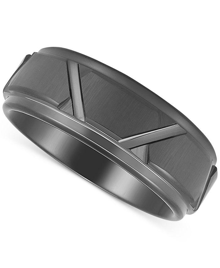Macy's - Men's Geometric Band in Black Ion-Plated Tantalum