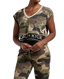Women's Double Layer Crop V-Neck Tee Camo