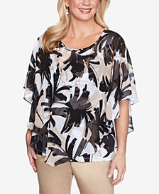 Plus Size Brushstroke Leaves Flutter Woven Top with Detachable Necklace