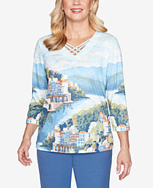 Alfred Dunner Plus Size Three Quarter Sleeve Scenic Watercolor Knit Top with Lattice Neckline