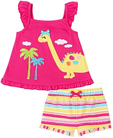 Toddler Girls 2-Pc. Dinosaur Tank Top & Striped Shorts Set