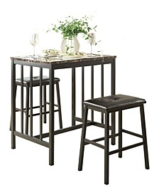 Homelegance Cristo Counter Height Dining Room Table and Stools, Set of 3