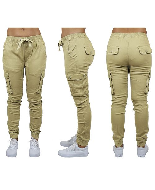 Galaxy By Harvic Women's Cotton Stretch Twill Cargo Loose Fit Joggers
