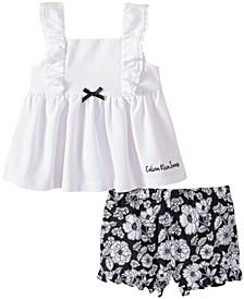 Baby Girls 2-Pc. Ruffled Tunic & Floral-Print Bloomers
