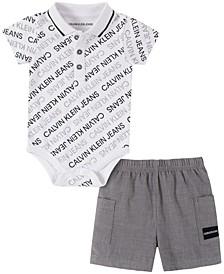 Baby Boys 2-Pc. Logo-Print Polo & Shorts Set