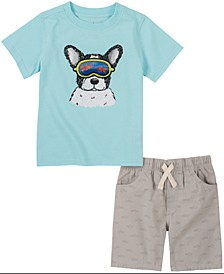 Baby Boys 2-Pc. Dog T-Shirt & Printed Shorts Set