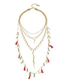 Tassel Multi Row Gold-Tone Necklace Set