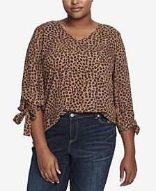 Plus Size 3/4 Tie Sleeve Leopard Cluster