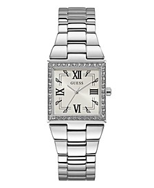 Silver-Tone Square Crystal Steel Watch 28mm