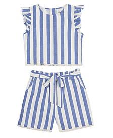 Little Girls Linen Top and Short Set