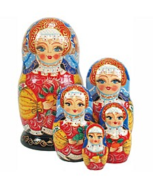 Apple Girl 5 Piece Russian Matryoshka Stacking Dolls Set