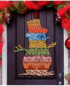 Country Quilted Snowman Christmas Door Hanger
