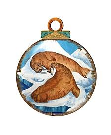 Sea Lions Ball Wooden Ornaments, Set of 2