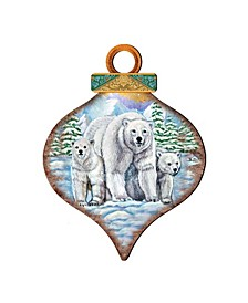 Polar Bears Drop Wooden Ornaments, Set of 2
