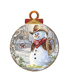 by Dona Gelsinger Cowboy Snowman Ornament, Set of 2