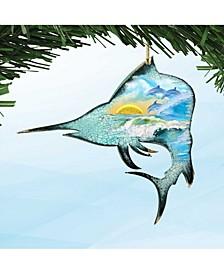 Marlin Fish Wooden Ornaments Set of 2