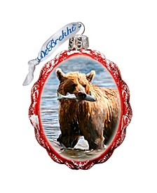 Grizzly Bear W Fish Hand Painted Glass Ornament