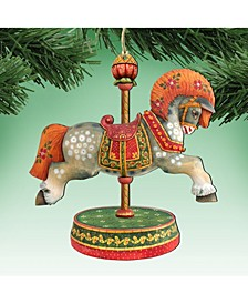White Arabian Carousel Horse Wooden Christmas Ornament, Set of 2