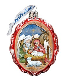 Orthodox Nativity Hand Painted Glass Ornament