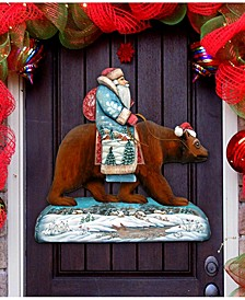 Santa on Grizzly Bear Christmas Door Hanger
