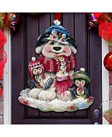 Jamie Mills Price Christmas Dog and Penguin Wall Decor