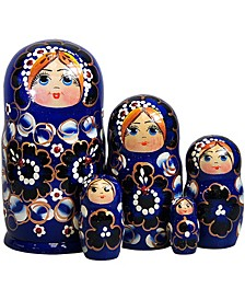 Blue Floral 5 Piece Russian Matryoshka Nested Doll Set