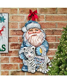White Tiger Santa Christmas Door Hanger