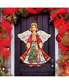 Christmas Tree Angel Wooden Door Hanger
