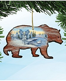 Grizzly Wooden Christmas Ornament Set of 2
