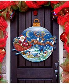 Santa Up and Away Sleigh Ball Christmas Door Hanger