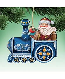 Train Riding Santa Wooden Christmas Ornament Set of 2