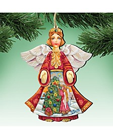Christmas Tree Angel Wooden Ornament Set of 2