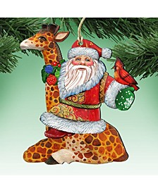 Santa on Giraffe Wooden Christmas Ornament, Set of 2