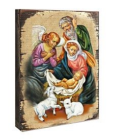 "Icon Nativity Block Wall Art on Wood 8"""
