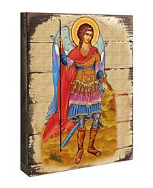 "Icon Saint Michael The Archangel Wall Art on Wood 8"""
