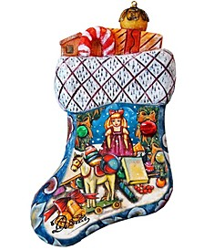 Hand Painted Christmas Gift Bag Stocking Scenic Ornament