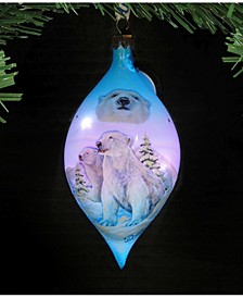 Led Polar Bears Glass Hand Painted Glass Ornament