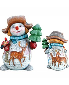 Woodcarved Hand Painted Reindeer Snowman and Broom Figurine