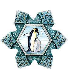 Hand Painted Scenic Ornament Penguin Snowflake