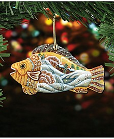 Native Fish Wooden Christmas Ornament Set of 2