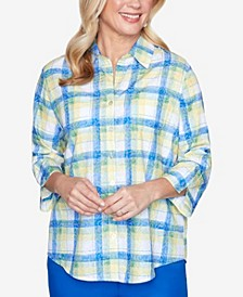 Plus Size Two Pocket Three-Quarter Roll Tab Sleeve Plaid Woven Shirt