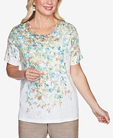 Plus Size Short Sleeve Falling Leaves Lace Yoke Knit Top