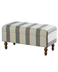Upholstered Stripe Design Storage Bench