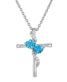 "Swiss Blue Topaz (1-7/8 ct. t.w.) & White Topaz (1/5 ct. t.w.) Cross 18"" Pendant Necklace in Sterling Silver"
