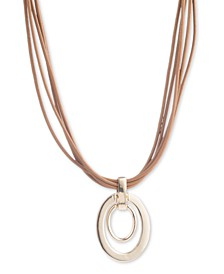 "Gold-Tone Oval Link Leather Pendant Necklace, 16"" + 3"" extender"