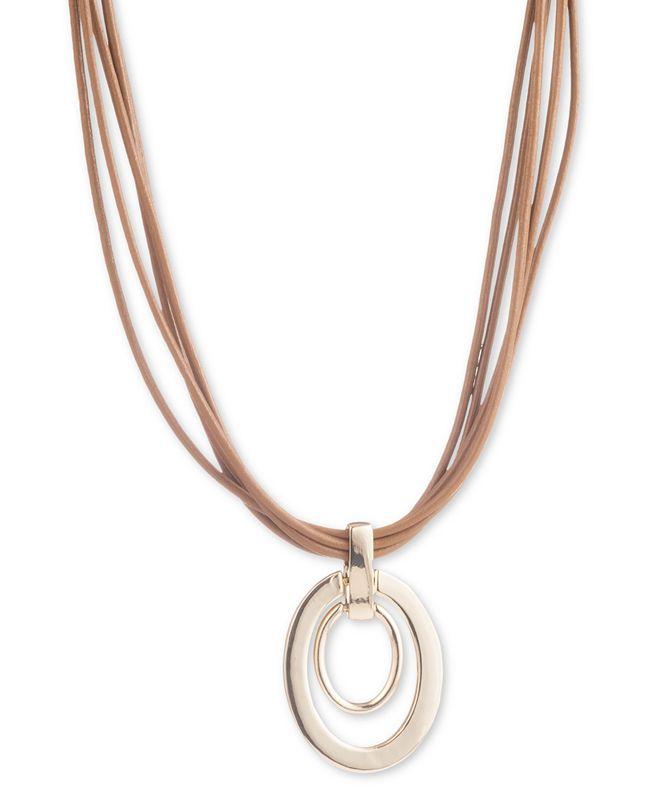 "Lauren Ralph Lauren Gold-Tone Oval Link Leather Pendant Necklace, 16"" + 3"" extender"