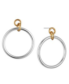 Two-Tone Circle Link Drop Earrings