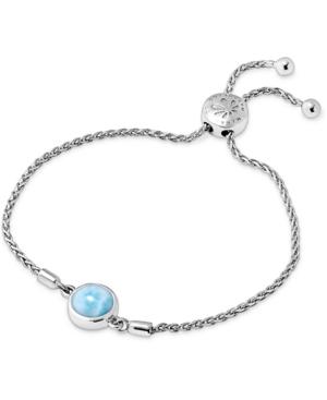 Larimar Bezel Bolo Bracelet in Sterling Silver